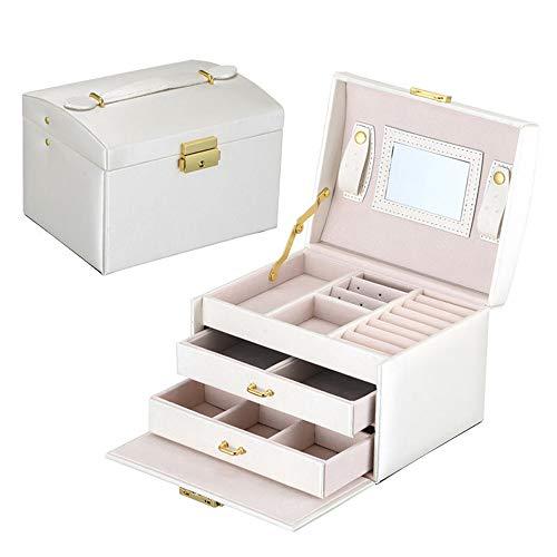 MSG ZY Schmuckschatulle Etui/Boxen/Make-up-Box, Schmuck- und Kosmetik-Beauty-Etui mit 2 Schubladen 3 Schichten