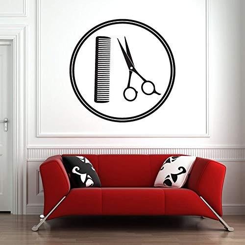 Peluquería etiqueta de la pared arte etiqueta de la pared herramienta tijeras peine pared vinilo decoración patrón autoadhesivo peluquería