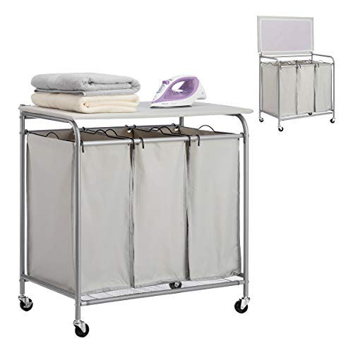 PARANTA Laundry Sorter Cart 3-Bag Heavy-Duty with Ironing Board Laundry Room Organizer with Casters Grey
