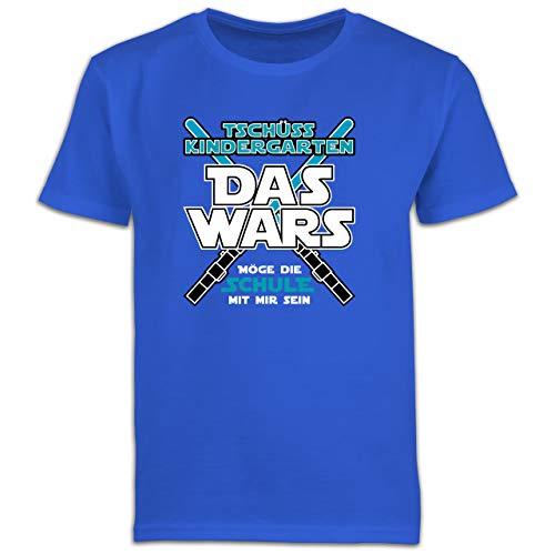Einschulung und Schulanfang - Das Wars Kindergarten Blau - 128 (7/8 Jahre) - Royalblau - 306082035x - F130K Schulanfang - Schulanfang Jungen T-Shirt Kinder