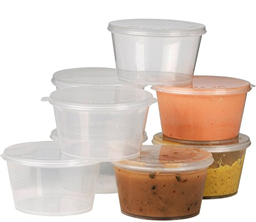 Plastic Condiment Cups with Attached Leak Resistant Lid, Bpa Free, [100 Pack ] Clear Portion Container for Condiments, Samples, Dressings, Pills, Balms, Jello Shots   2 oz