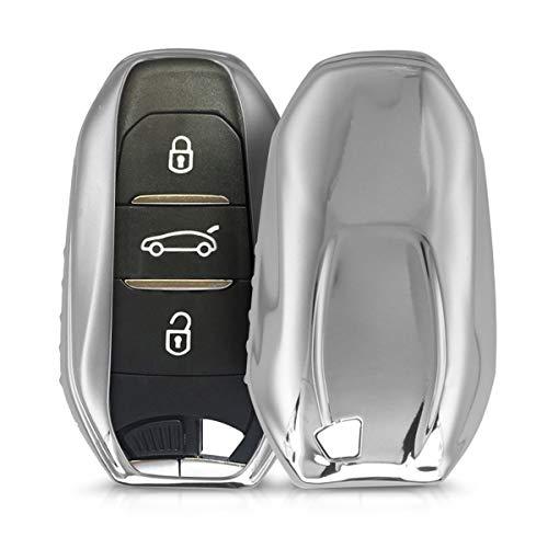 kwmobile Funda Compatible con Peugeot Citroen Llave de Coche Smartkey de 3 Botones (Solo Keyless Go) - Carcasa Suave de TPU - Cover de Mando y Control de Auto en Plateado Brillante