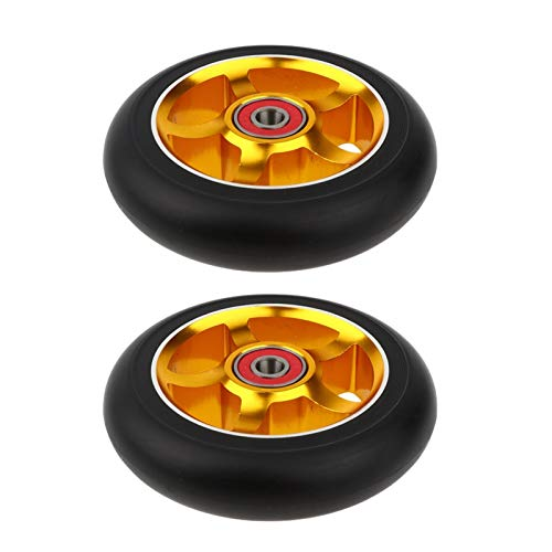 2 pcs 100mm Push/Kick/Stub Scooter Roues avec roulements AMP Bagues de Skateboard Scooter Roue Remplacement de la Roue Roue Trotinette Freestyle 100mm (Color : Gold)