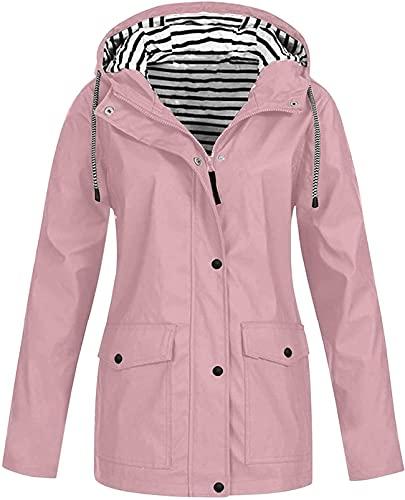 DFLYHLH Chaquetas de lluvia de talla grande para mujer, abrigo de lluvia ligero al aire libre con capucha cortavientos impermeable chaqueta Outwear, rosa, XXL