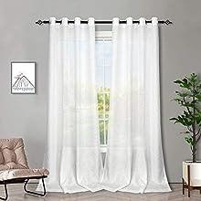 Melodieux Cortinas Visillos Blancas para Salón Cortinas Translúcidas Dormitorio 2 Piezas, 140x175cm
