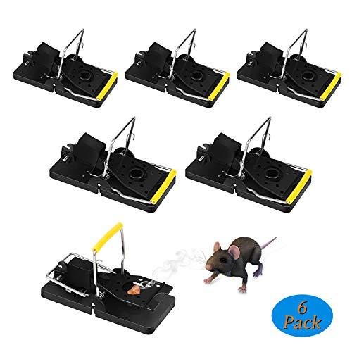 Zorara Mäusefalle, 6er Set Professionelle Rattenfalle Wiederverwendbar Wirksam Rattenfalle Schlagfalle, Einfaches Aufstellen Mäusemörder Mäusefalle für Haus (Schwarz)