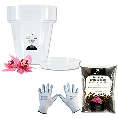 GebEarth - Kit per Rinvasare le Orchidee: vaso per Orchidee trasparente, 4 fori di drenaggio e sottovaso + Terriccio Specifico per Orchidee da 1 lt, guanti per giardinaggio [vaso diametro 14 cm]