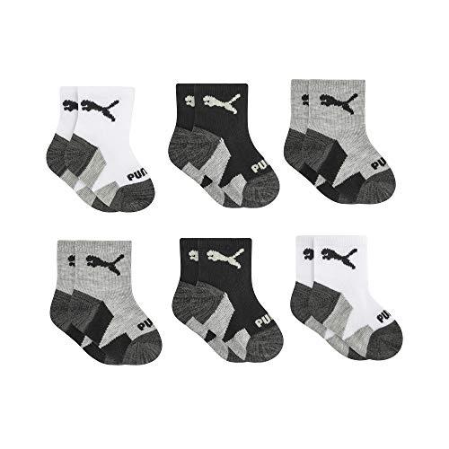 PUMA Baby Boys 6 Pack Anklet Socks, White/Black, 12-24M