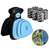 Outtybrave - Cucchiaio per cani con 6 sacchetti per la spazzatura, per raccogliere i rifiuti di animali domestici, per rimuovere gli escrementi di animali domestici colore: blu