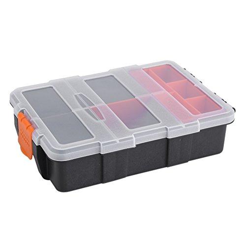 Organizador de caja de almacenamiento de herramientas de alta resistencia de plástico con ranuras de 11x Compartimientos Estuche de almacenamiento de dos capas para tornillos Tuercas y tornillos