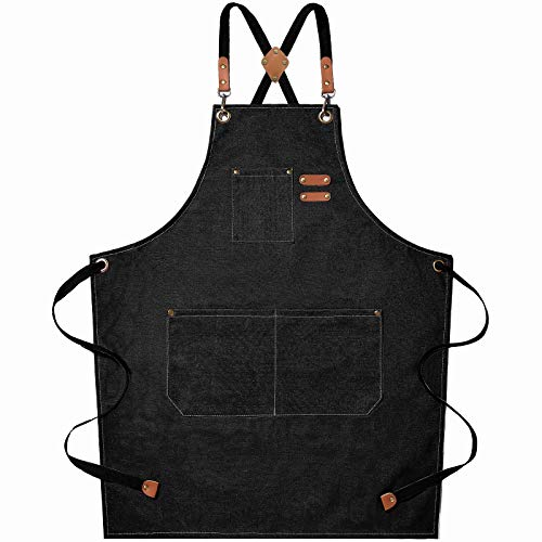 Chef Apron, Cotton Canvas Cross Back Apron with Adjustable Straps and Large Pockets,M to XXL (Black)