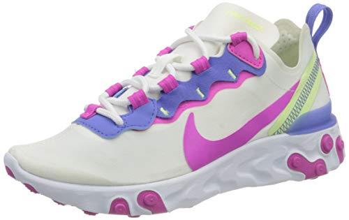 Nike React Element 55 Women's Shoe, Scarpe da Corsa Donna, White/Fire Pink-Sapphire-Barely Volt, 37.5 EU