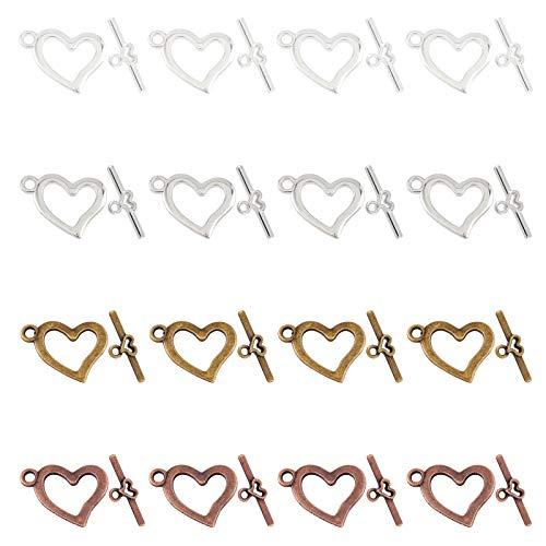 SUPERFINDINGS 80 Juego 4 Colores Cierres de Palanca de Corazón Cierres de Palanca de Joyería Cierre Grande de Aleación Resultados de Palanca para Collar Pulsera Fabricación de Joyas Artesanía