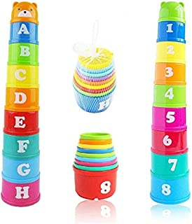 Stacking Cups 9 pieces with letters and numbers, Sound Folding Cup Toy Stacking Cups Game Toy for Baby Kids Childrens Educ...