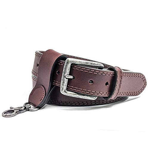 WInchester Concealed Carry Belt CCW,14 Oz Full Grain Leather Tactical Gun Belt, 1 1/2 Inch Wide Brown + Keychain Ring