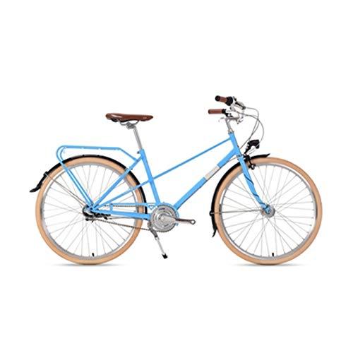 Bicicleta Retro Ligera Señora Vehículo Recreativo Bicicleta Urbana Vehículo Interior De Tres Velocidades Bicicleta para Adultos De 26 Pulgadas,Azul