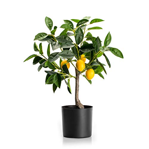 Velener 19' Mini Artificial Lemon Tree Potted Bonsai Plant for Home Décor