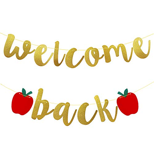 Stology Welcome Back Banner Bunting Sign, Back to School Gold Glitter Banner Apples Garland Decor Outdoor Indoor, First Day of School Classroom Decoration Supplies for Preschool Kindergarten College