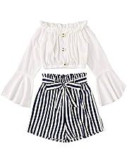 Girls/Kids Western Style Striped Print TOP & Shorts(N.BLLUE&White)