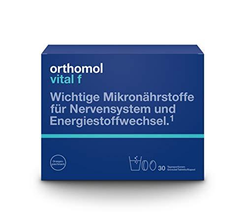 Orthomol vital f 30er Granulat, Tablette & Kapseln, Orange - Vitamin Komplex für Frauen bei Müdigkeit & Erschöpfung