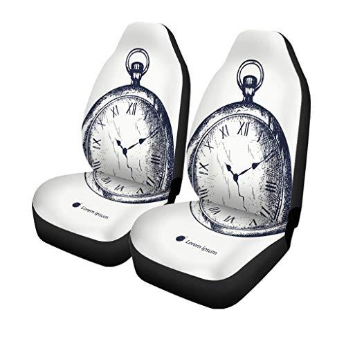 XZfly Autostoelhoezen, oude, vintage, zakhorloge, tattoo, gravure, stopwatch, antiek horloge set met 2 beschermers, auto fit voor auto