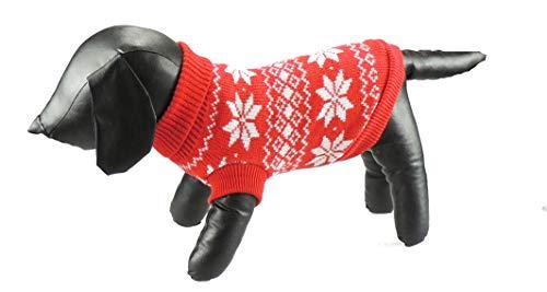Glamour Girlz Theekop Speelgoed Kat Puppy Honden Huisdier Accessoire Gebreide Rood Wit Sneeuw Flake Fair Isle Print Wandelen Outdoor Jumper, XL, Rood
