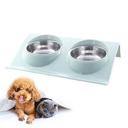 Ciotole per cani doppie in acciaio inossidabile, ciotole per gatti antigoccia per gatti Cuccioli Cani di piccola taglia media Cibo e acqua (Verde)