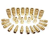 Tanya Hardware Coupler and Plug Kit (28 Piece), Industrial Type D, 1/4 in. NPT, Solid Brass Quick Connect Air Fittings Set
