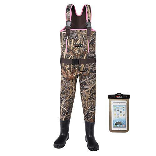 HISEA Kids Chest Waders for Toddler & Children Neoprene Youth Duck Hunting Waders for Kids Boys Girls with Insulated Boots