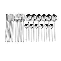XHYRB 24PCSピュアゴールドブラック食器セットウェディングカトラリーセット18/10ステンレス鋼のディナーナイフフォークスクープ銀卸売 食器・調理器具 (Color : Silver)