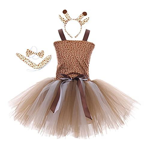 sharprepublic Vestido de Jirafa para Niñas con Diadema de Cumpleaños Halloween Christmas Party Trajes de Baile Tutu Disfraces - S
