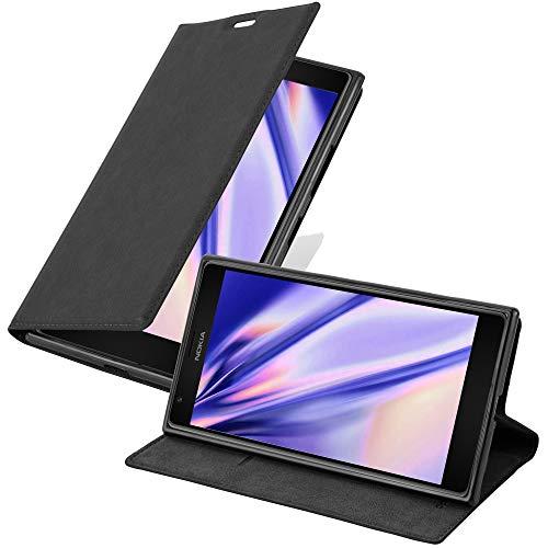 Cadorabo Hülle für Nokia Lumia 1520 in Nacht SCHWARZ - Handyhülle mit Magnetverschluss, Standfunktion & Kartenfach - Hülle Cover Schutzhülle Etui Tasche Book Klapp Style