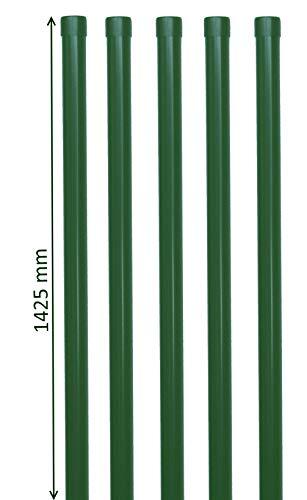 5 Zaunpfosten Zaunpfahl Zaunhalter in grün für 1,2m Gartenzaun als Zaunhalter aus Metall Ø34 mm RAL 6005