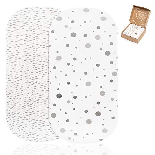 mimaDu 2 x Premium Spannbettlaken für Kinderwagen und Stubenwagen - OEKO-Tex 100% Jersey Baumwolle - kuschelweiche Spannbetttuecher (Striche Punkte Grau Weiß, 78x36 bis 80x40 cm)