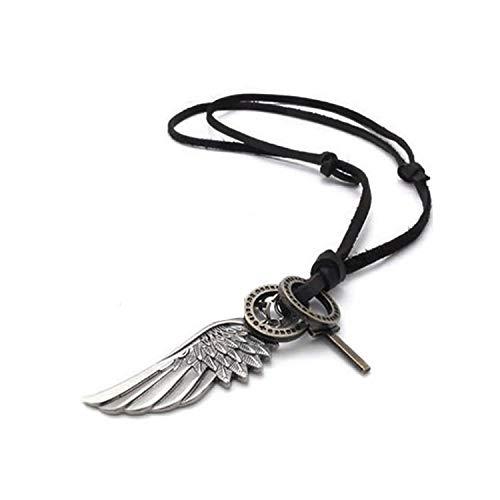 AKKi jewelry Halskette für Herren Man Lederkette Surferkette Bronze Farbe Tribalkette mit Lebensbaum Blätter Ringe Feder Kette Anhänger Wert #2