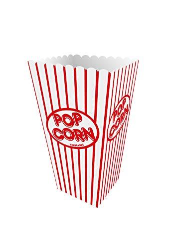 Henbrandt 10 Stück Popcorn Boxen Popcorntüten Rot, Pappe für Snacks Süßigkeitenbehälter Partytüten für Filmabend Kino Snack Retro Party Geburtstag Hochzeit Geschenke