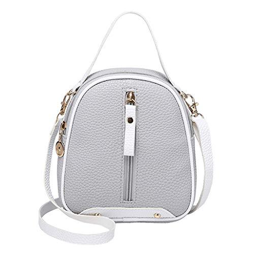 COZOCO Frauen Mode Schultertaschen kleine Rucksack Geldbörse Handy Messenger Bag Flap Handy Tasche(Grau,)