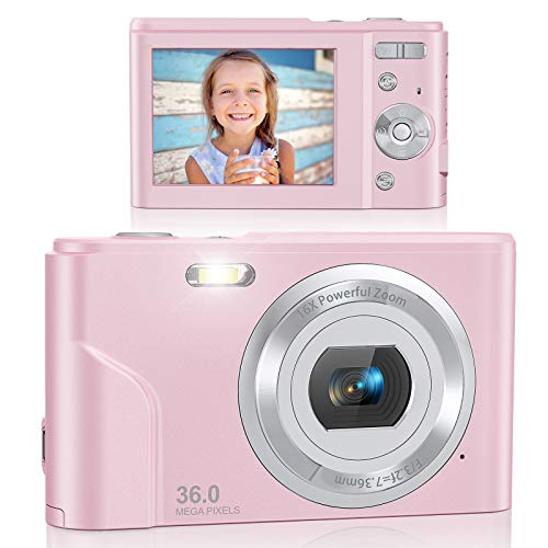 Digital Camera, Lecran FHD 1080P 36.0 Mega Pixels Vlogging Camera with 16X Digital Zoom, LCD Screen, Compact Portable Mini Cameras for Students, Teens, Kids (Pink)