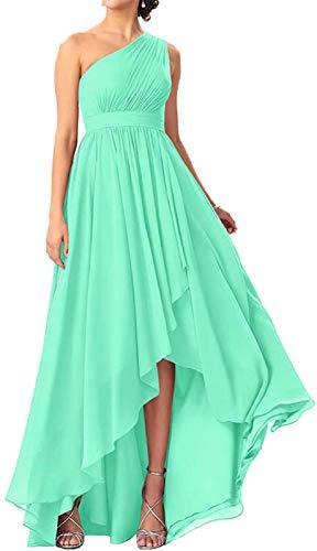 JAEDEN Abendkleider Lang Brautjungfernkleider Chiffon Damen EIN Schulter Hochzeitskleider Abschlusskleider Vorne Kurz Hinten Lang Minze EUR40