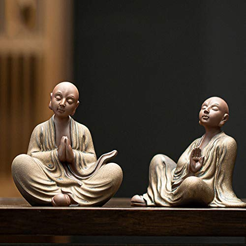 J.Mmiyi Ceramic Monk Statues and Figurines Decor Meditating for Home, Handmade Cute Buddha Sculpture, Two Different Poses Ornaments, 2 Pieces Set,Gold