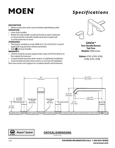 Moen T908 Genta Two-Handle Deck Mounted Modern Roman Tub Faucet, Valve Required, Chrome