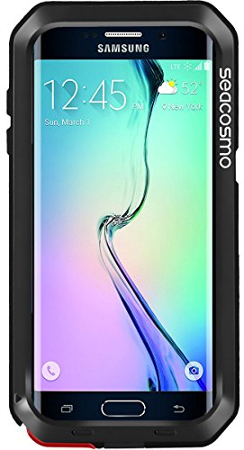 seacosmo Samsung Galaxy S6 Edge Plus Hülle, Aluminium Doppelte Schutz Handyhülle Galaxy S6 Edge Plus Stoßfest Outdoor Case für S6 Edge Plus, Schwarz