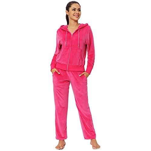 Jogging Suits for Women Set Petite Track Suit Two 2 Piece Outfits Velvet Tracksuit Sets Velour Zip Up Hoodie Sweatshirt & Sweatpants Sweatsuits(Pink, S)