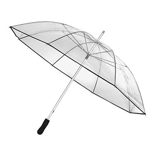 Stockschirm mit transparente POE Bespannung und Metallspeichen Regenschirm mit Durchmesser 110 cm für 2 Personen geeignet