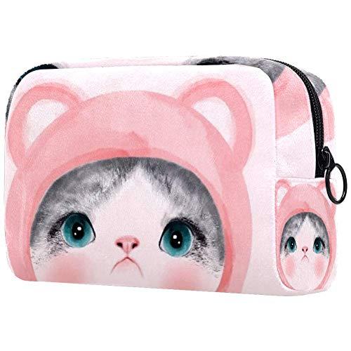 Trousse de toilette portable pour femme, trousse de maquillage, sac à main, organiseur de voyage, rose chat