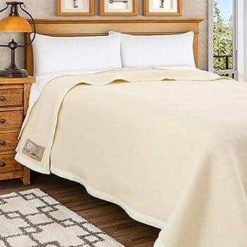 Poyet Motte Aubisque 500GSM Heavyweight 100-Percent Wool Blanket  Full/Queen Natural