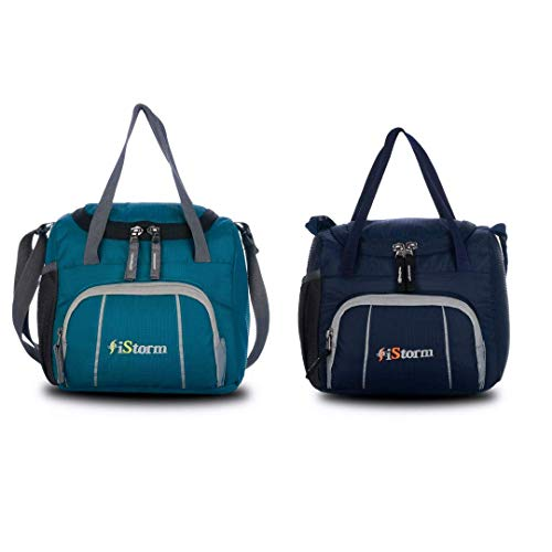 iStorm Polyester Lunch Bag/Tiffin Bag for Lunch Box (Sky Blue & Navy Blue with Grey Zip, Pack of 2)