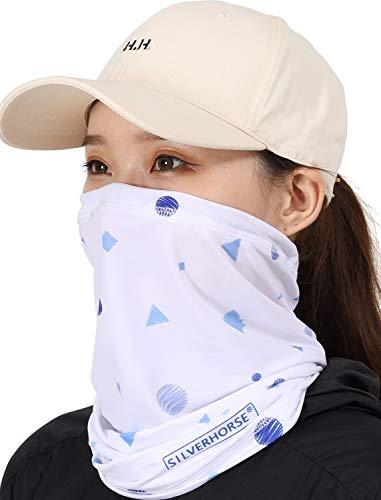 SILVERHORSE(シルバーホース) フェイスカバー UVカット 調節可能なドローコード付き 冷感 男女兼用 フェイスマスク ネックカバー 息苦しくない スポーツマスク 洗える 日焼け対策 (水色ポリゴン)