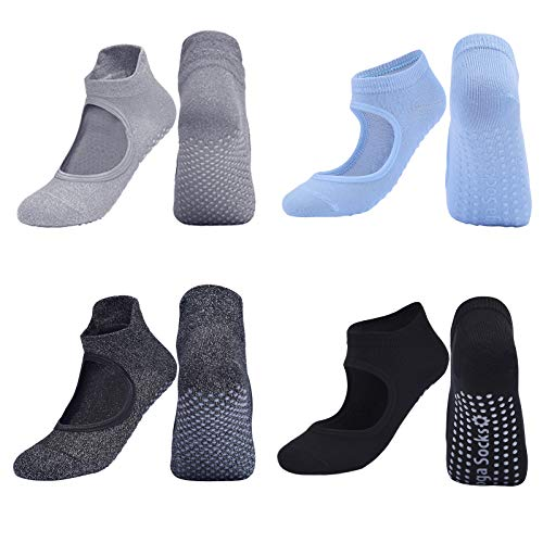 GeeRic (4 Paare Yoga Socken für Damen rutschfest Pilates Strümpfe, Fitness, Gymnastik, Bars, Tanz EU-Größe: 35-42