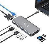 USB C Hub, Adaptateur Multiport 10-en-1 vers HDMI 4K et VGA, Port Charge PD 100W, Ethernet RJ45, Lecture de Carte SD/TF, 3 Ports USB 3.0, Audio 3.5mm pour MacBook Pro/Air 2020/Tablette USB Type C